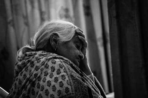 black and white person woman old